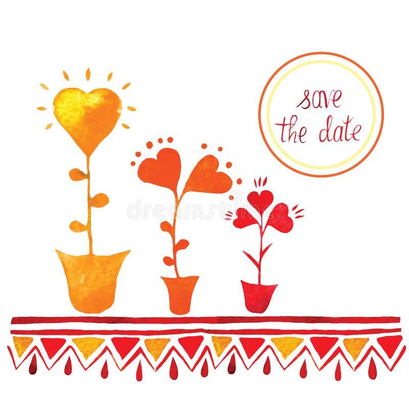Διανυσματική πρόσκληση διακοσμήσεων λουλουδιών για να γιορτάσει η ημερομηνία σώζει στοκ φωτογραφία