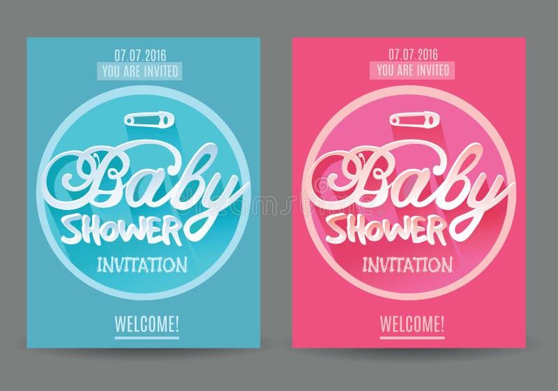 Διανυσματική πρόσκληση ντους μωρών για το αγόρι και το κορίτσι μπλε ροζ στην γκρίζα ανασκόπηση ελεύθερη απεικόνιση δικαιώματος