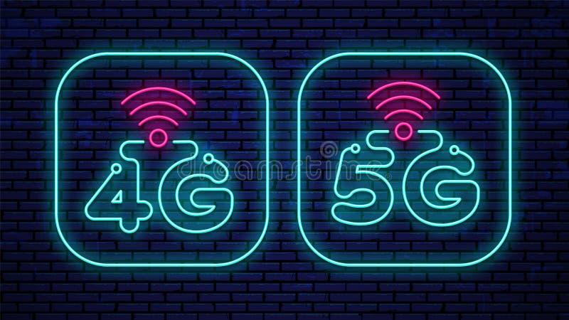 Διανυσματική πυράκτωση 4G νέου και εικονίδια 5G απεικόνιση αποθεμάτων