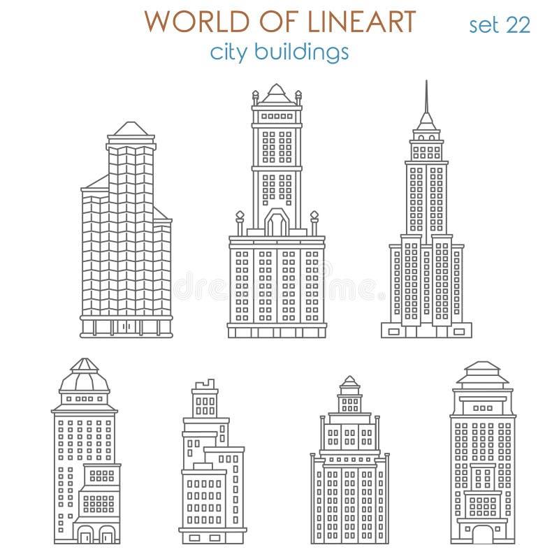 Διανυσματική πόλη αρχιτεκτονικής lineart: δημόσιο δημοτικό κτήριο λεωφόρων διανυσματική απεικόνιση
