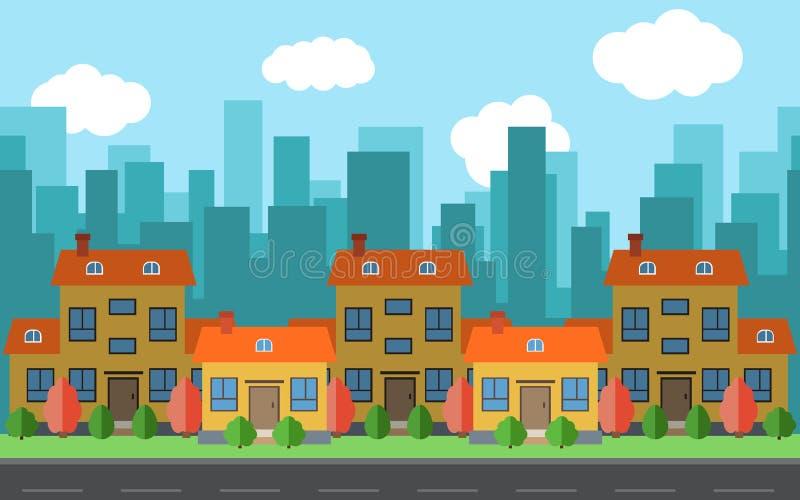 Διανυσματική πόλη με πέντε σπίτια και κτήρια κινούμενων σχεδίων απεικόνιση αποθεμάτων