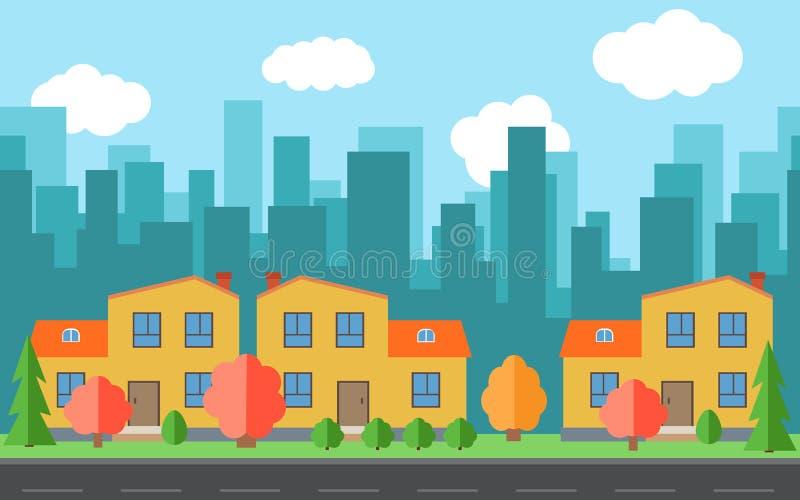Διανυσματική πόλη με τα σπίτια και τα κτήρια κινούμενων σχεδίων Διάστημα πόλεων με το δρόμο στην επίπεδη έννοια υποβάθρου ύφους απεικόνιση αποθεμάτων