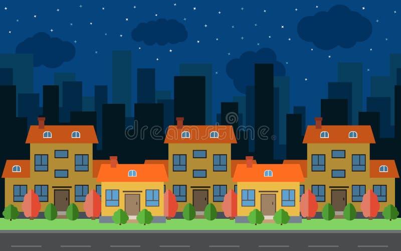 Διανυσματική πόλη νύχτας με πέντε σπίτια και κτήρια κινούμενων σχεδίων Διάστημα πόλεων με το δρόμο στο επίπεδο ύφος διανυσματική απεικόνιση