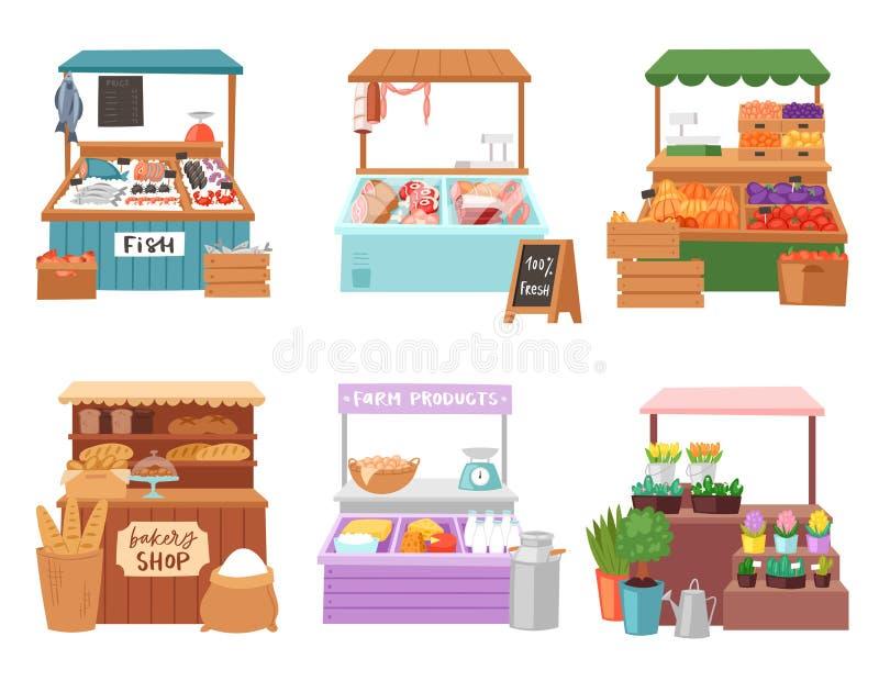 Διανυσματική πώληση χαρακτήρα πωλητών πωλητών αγοράς τροφίμων στο χασάπη ή τον αρτοποιό βιβλιοπωλείων στο σύνολο απεικόνισης στάβ διανυσματική απεικόνιση