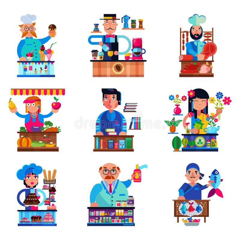 Διανυσματική πώληση χαρακτήρα πωλητών πωλητών στο βιβλιοπωλείο candyshop ή coffeeshop και το χασάπη ή τον αρτοποιό στην απεικόνισ απεικόνιση αποθεμάτων