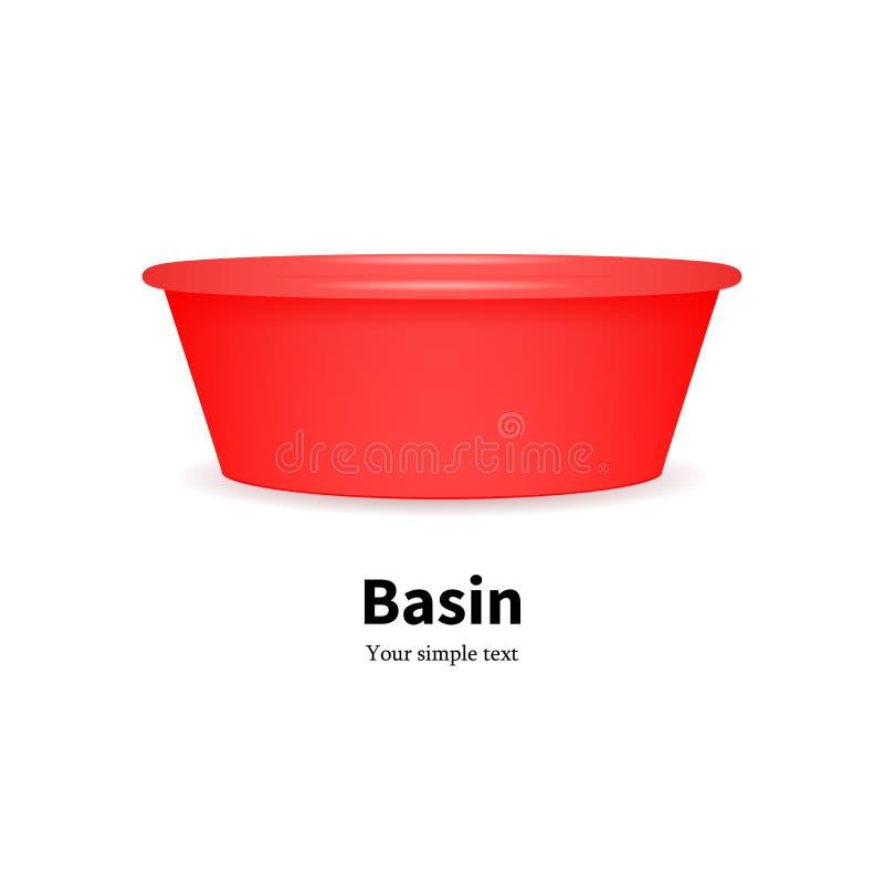 Διανυσματική πλαστική λεκάνη για τα ενδύματα πιάτων πλύσης ελεύθερη απεικόνιση δικαιώματος