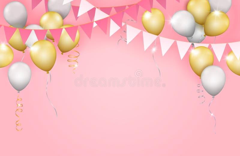 Διανυσματική ρεαλιστική ένωση girlands, χρυσά και ασημένια μπαλόνια και διανυσματική απεικόνιση