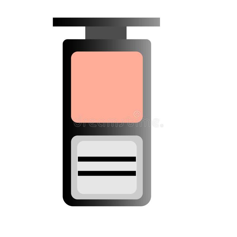 Διανυσματική ρεαλιστική απεικόνιση Ιστού της τονικής σκόνης προσώπου Εικονίδια Makeup ελεύθερη απεικόνιση δικαιώματος