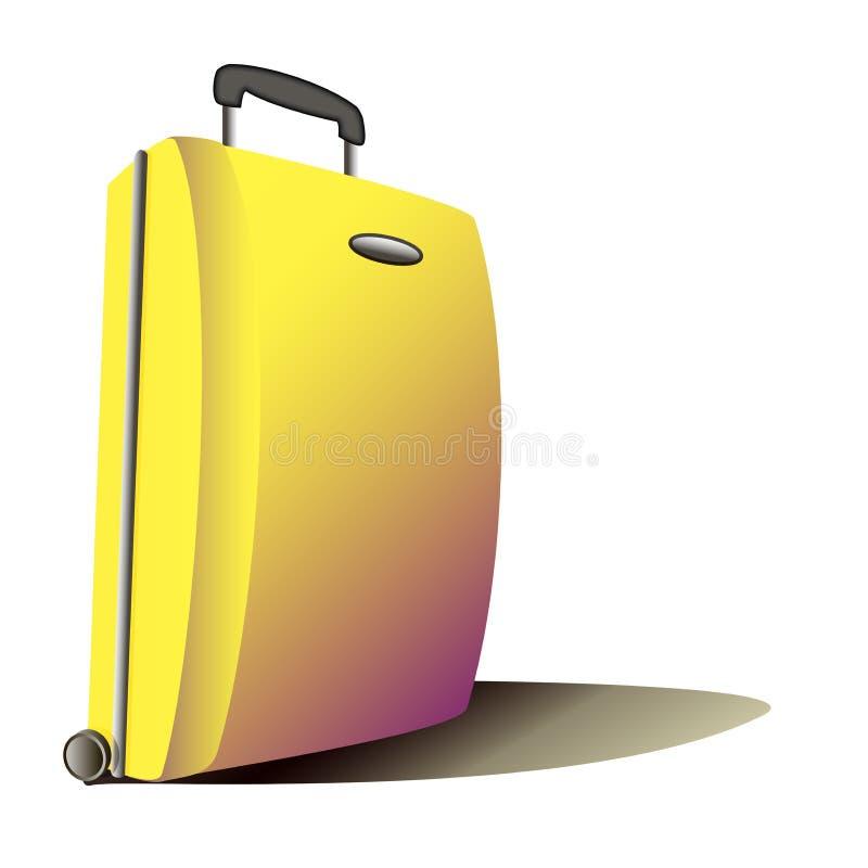 Διανυσματική ρεαλιστική απεικόνιση μιας κίτρινης βαλίτσας απεικόνιση αποθεμάτων