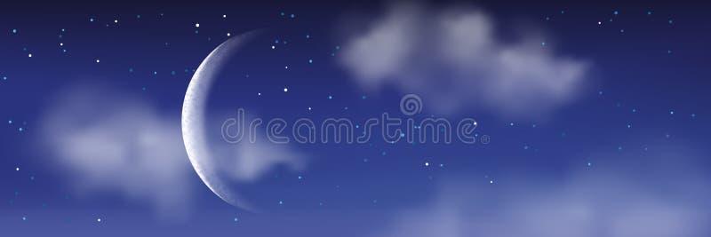 Διανυσματική ρεαλιστική απεικόνιση της νύχτας cloudscape Φεγγάρι, αστέρια, σύννεφα στο μπλε ουρανό Ρομαντικό υπόβαθρο τοπίων απεικόνιση αποθεμάτων