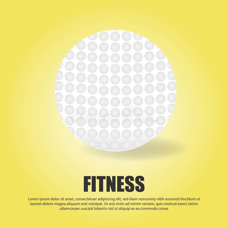 Διανυσματική ρεαλιστική τρισδιάστατη άσπρη κλασική σφαίρα γκολφ που απομονώνεται στο κίτρινο υπόβαθρο κλίσης Πρότυπο σχεδίου για  διανυσματική απεικόνιση
