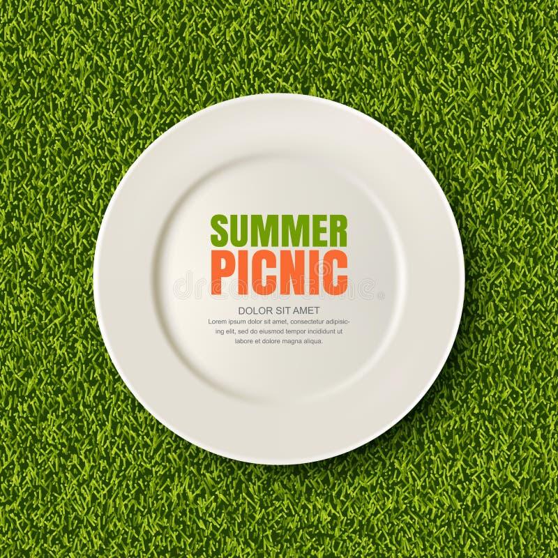 Διανυσματική ρεαλιστική τρισδιάστατη απεικόνιση του άσπρου πιάτου στον πράσινο χορτοτάπητα χλόης Πικ-νίκ στο πάρκο Έμβλημα, πρότυ ελεύθερη απεικόνιση δικαιώματος