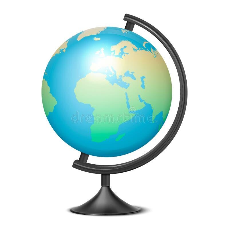 Διανυσματική ρεαλιστική τρισδιάστατη σφαίρα του πλανήτη Γη με το χάρτη της κινηματογράφησης σε πρώτο πλάνο παγκόσμιων εικονιδίων  διανυσματική απεικόνιση