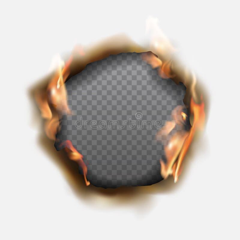 Διανυσματική ρεαλιστική τρύπα που καίγεται στο έγγραφο με τις καφετιές άκρες και τις φλόγες διανυσματική απεικόνιση