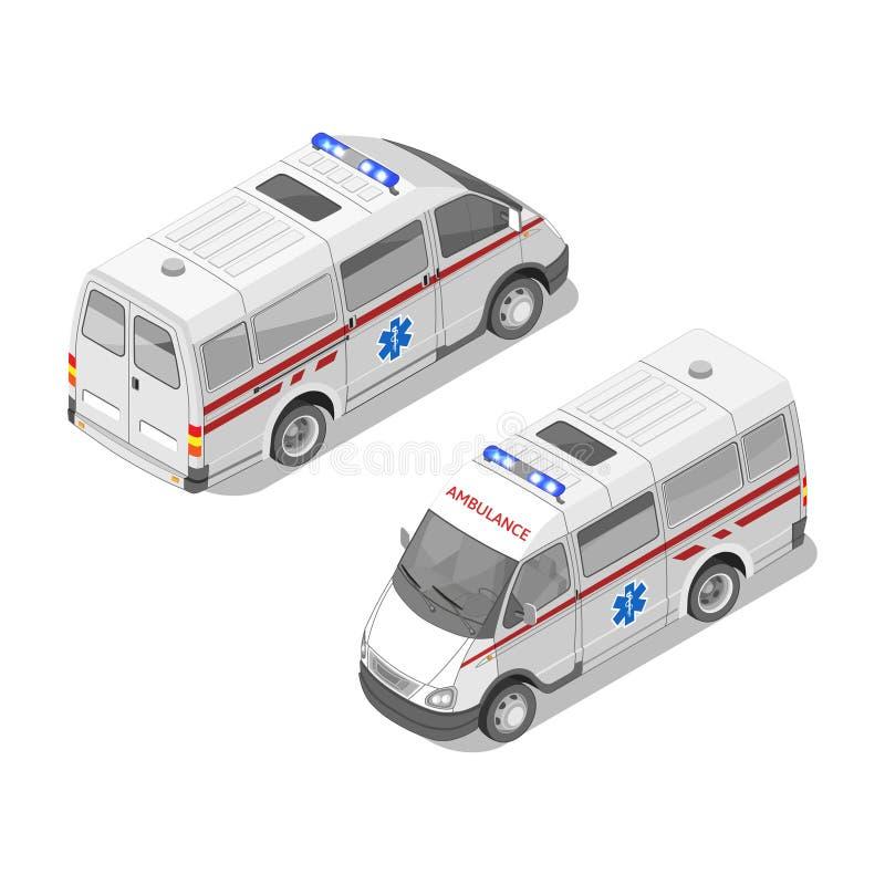 Διανυσματική ρεαλιστική isometric τρισδιάστατη απεικόνιση του αυτοκινήτου ασθενοφόρων ελεύθερη απεικόνιση δικαιώματος