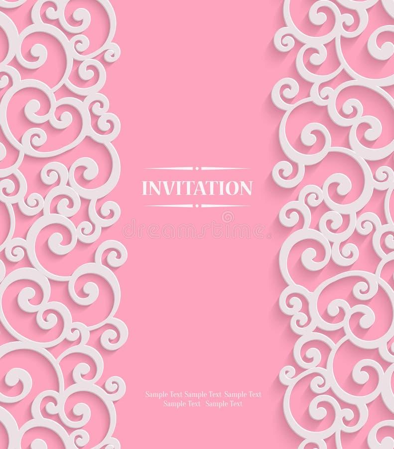 Διανυσματική ροζ τρισδιάστατη εκλεκτής ποιότητας κάρτα πρόσκλησης με Floral διανυσματική απεικόνιση