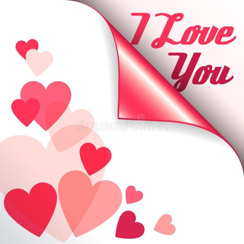 Διανυσματική ρόδινη καρδιά με την κατσαρωμένα γωνία και το κείμενο σ' αγαπώ διανυσματική απεικόνιση