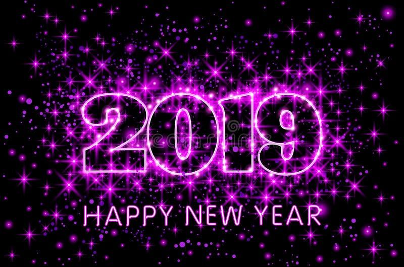 Διανυσματική ρόδινη τυπογραφία καλή χρονιά 2019 νέου στην έναστρη απεικόνιση υποβάθρου ουρανού πορφυρή διανυσματική απεικόνιση