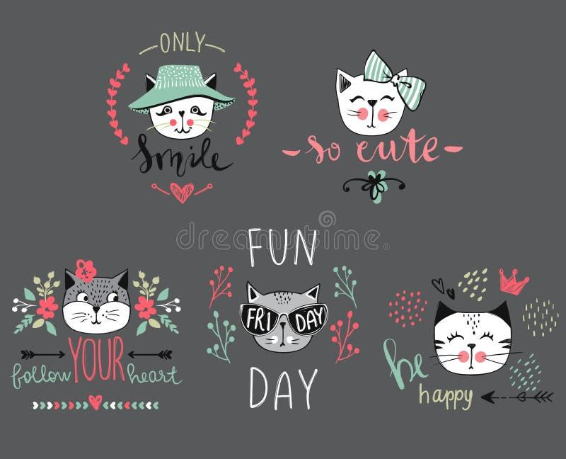 Διανυσματική σειρά καρτών με τις χαριτωμένες γάτες μόδας ελεύθερη απεικόνιση δικαιώματος