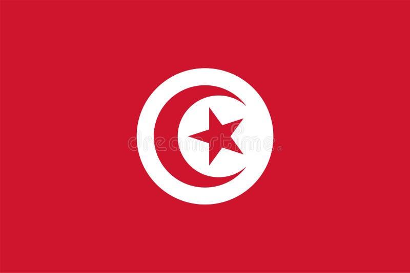 Διανυσματική σημαία της Τυνησίας Αναλογία 2:3 Τυνησιακή εθνική σημαία Δημοκρατία της Τυνησίας απεικόνιση αποθεμάτων