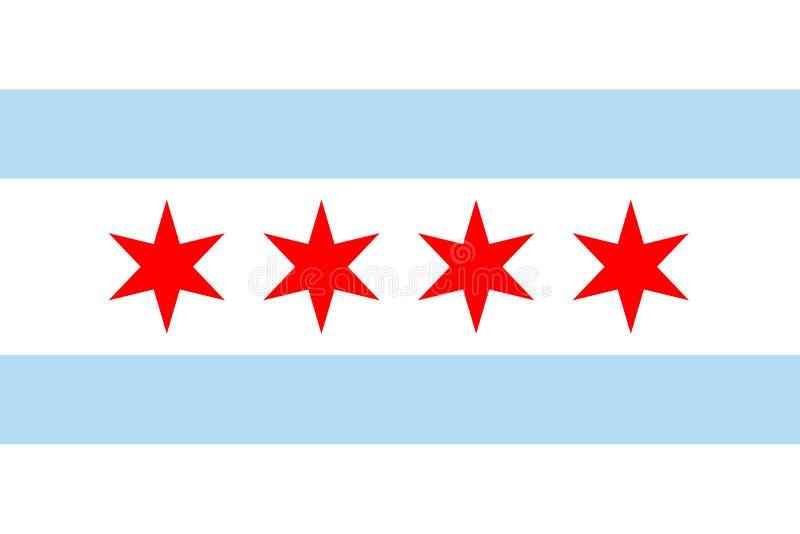 Διανυσματική σημαία του Σικάγου, Ιλλινόις Ηνωμένες Πολιτείες της Αμερικής ελεύθερη απεικόνιση δικαιώματος