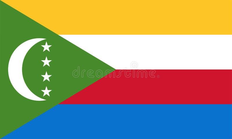 Διανυσματική σημαία των Κομορών Αναλογία 3:5 Από τις Κομόρες εθνική σημαία Ένωση των Κομορών απεικόνιση αποθεμάτων