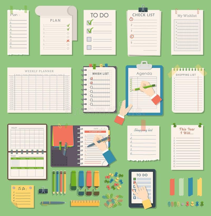 Διανυσματική σημείωση επιχειρησιακών αρμόδιων για το σχεδιασμό ημερήσιων διατάξεων σημειωματάριων Επιχειρησιακή σημείωση ημερήσιω απεικόνιση αποθεμάτων