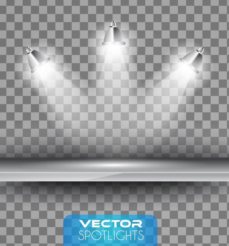 Διανυσματική σκηνή επικέντρων με τη διαφορετική πηγή φω'των που δείχνει το πάτωμα ή το ράφι απεικόνιση αποθεμάτων