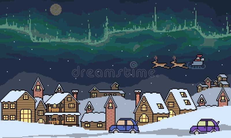 Διανυσματική σκηνή χειμερινών πόλεων τέχνης εικονοκυττάρου ελεύθερη απεικόνιση δικαιώματος