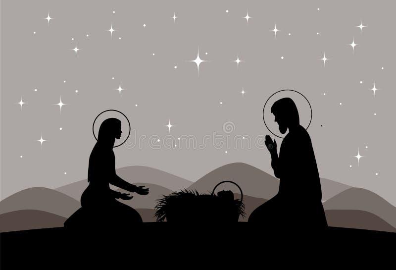 Διανυσματική σκηνή nativity Mary με τον Ιησού, και σκιαγραφία του Joseph ελεύθερη απεικόνιση δικαιώματος