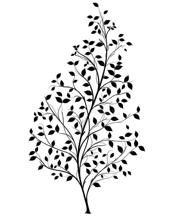 Διανυσματική σκιαγραφία δέντρων - γραφικό στοιχείο διανυσματική απεικόνιση