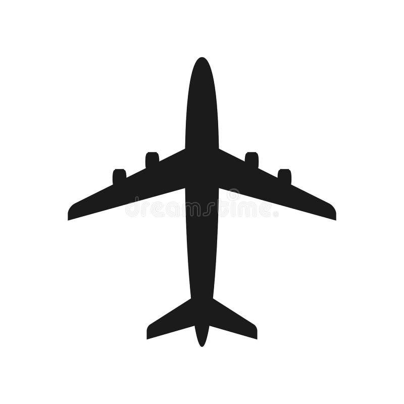 Διανυσματική σκιαγραφία αεροπλάνων, στερεά απεικόνιση, που απομονώνεται στο λευκό απεικόνιση αποθεμάτων