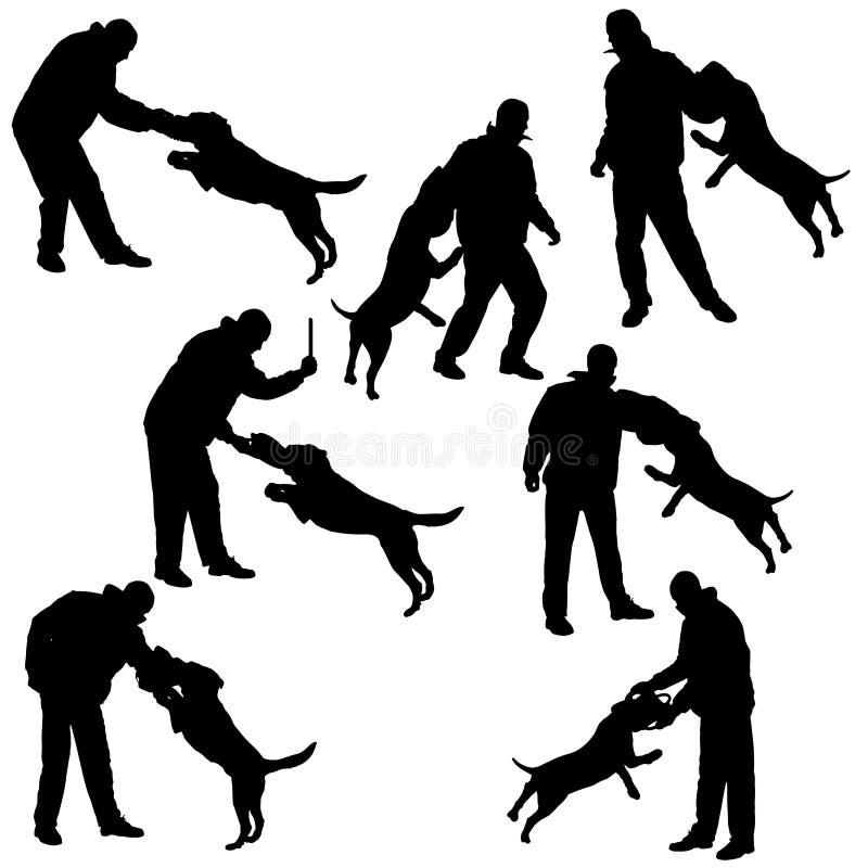 Διανυσματική σκιαγραφία ενός ατόμου και ενός σκυλιού διανυσματική απεικόνιση