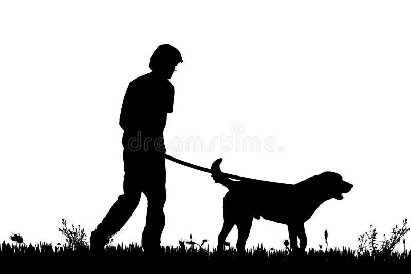 Διανυσματική σκιαγραφία ενός ατόμου με ένα σκυλί διανυσματική απεικόνιση