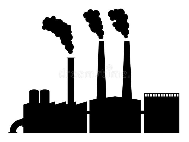 Διανυσματική σκιαγραφία εργοστασίων διανυσματική απεικόνιση