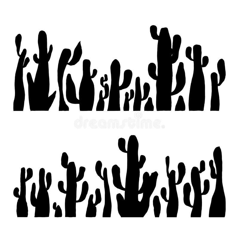 Διανυσματική σκιαγραφία κάκτων απεικόνισης καθορισμένη Μαύρος κάκτος saguaro ελεύθερη απεικόνιση δικαιώματος