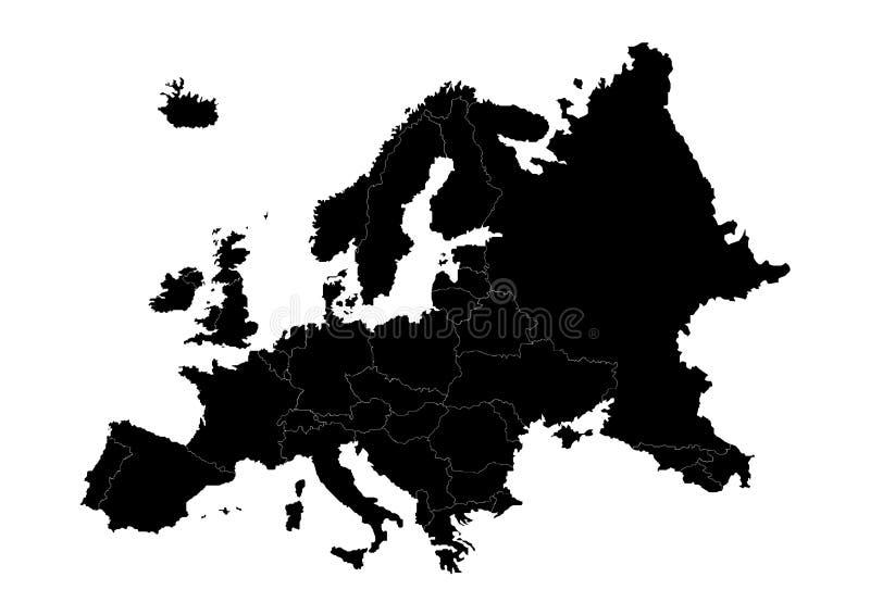 Διανυσματική σκιαγραφία κρατικών χαρτών της Ευρώπης διανυσματική απεικόνιση