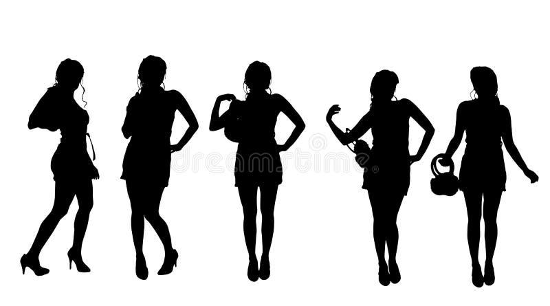 Διανυσματική σκιαγραφία μιας γυναίκας ελεύθερη απεικόνιση δικαιώματος