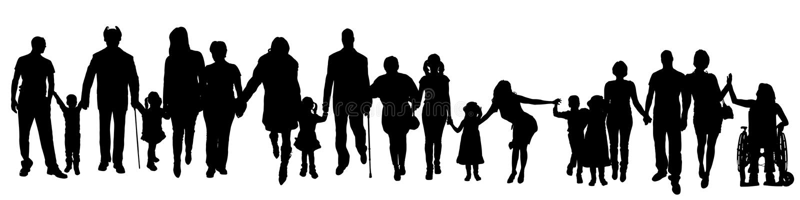 Διανυσματική σκιαγραφία μιας ομάδας ανθρώπων διανυσματική απεικόνιση