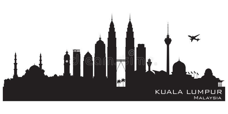 Διανυσματική σκιαγραφία οριζόντων πόλεων της Κουάλα Λουμπούρ Μαλαισία απεικόνιση αποθεμάτων