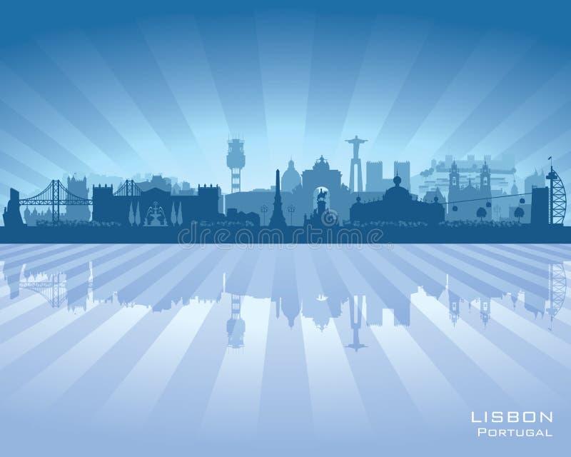 Διανυσματική σκιαγραφία οριζόντων πόλεων της Λισσαβώνας Πορτογαλία διανυσματική απεικόνιση