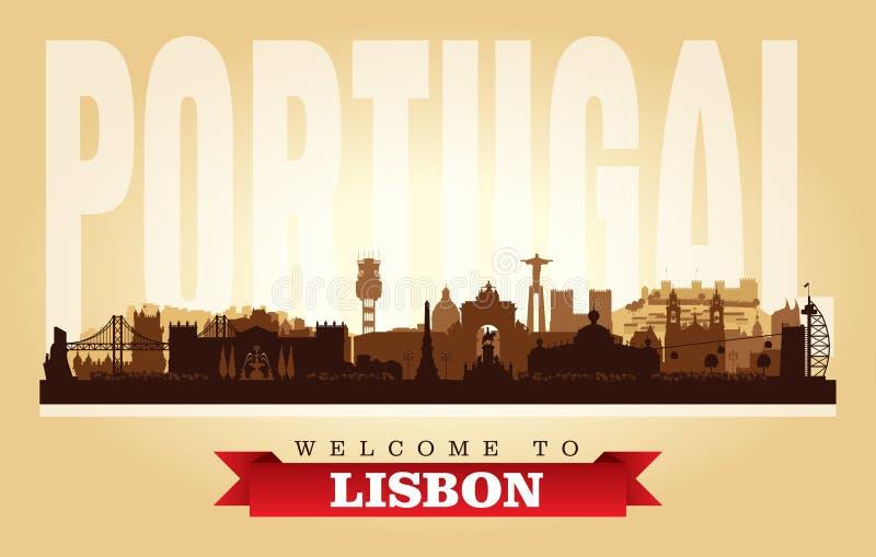 Διανυσματική σκιαγραφία οριζόντων πόλεων της Λισσαβώνας Πορτογαλία ελεύθερη απεικόνιση δικαιώματος