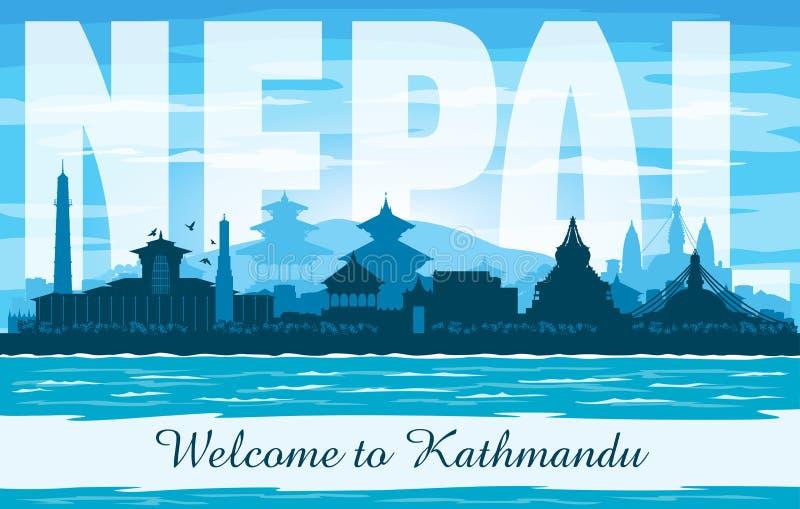 Διανυσματική σκιαγραφία οριζόντων πόλεων του Κατμαντού Νεπάλ απεικόνιση αποθεμάτων