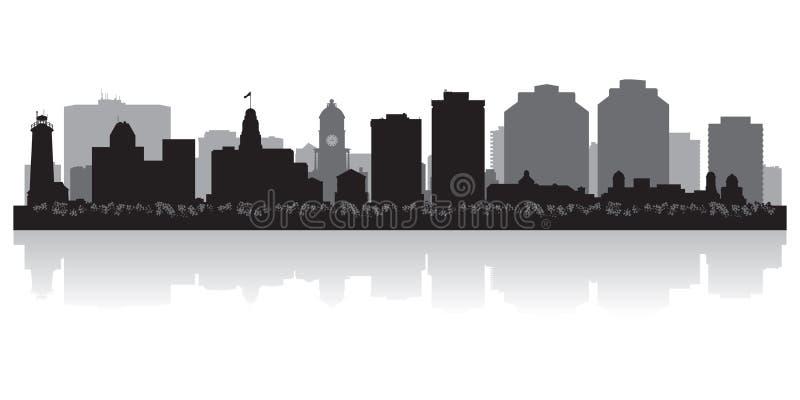 Διανυσματική σκιαγραφία οριζόντων πόλεων του Χάλιφαξ Καναδάς απεικόνιση αποθεμάτων