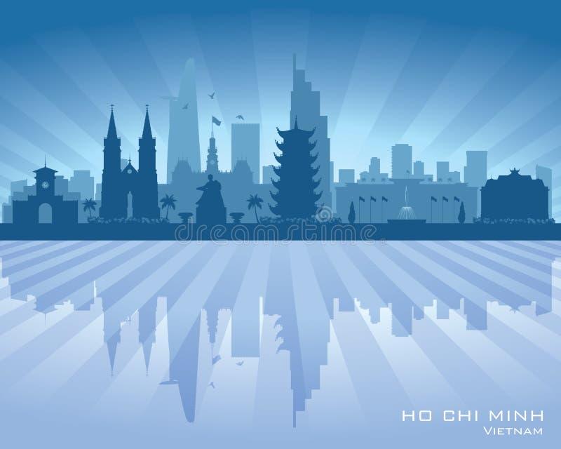 Διανυσματική σκιαγραφία οριζόντων του Βιετνάμ πόλεων του Ho Chi Minh απεικόνιση αποθεμάτων