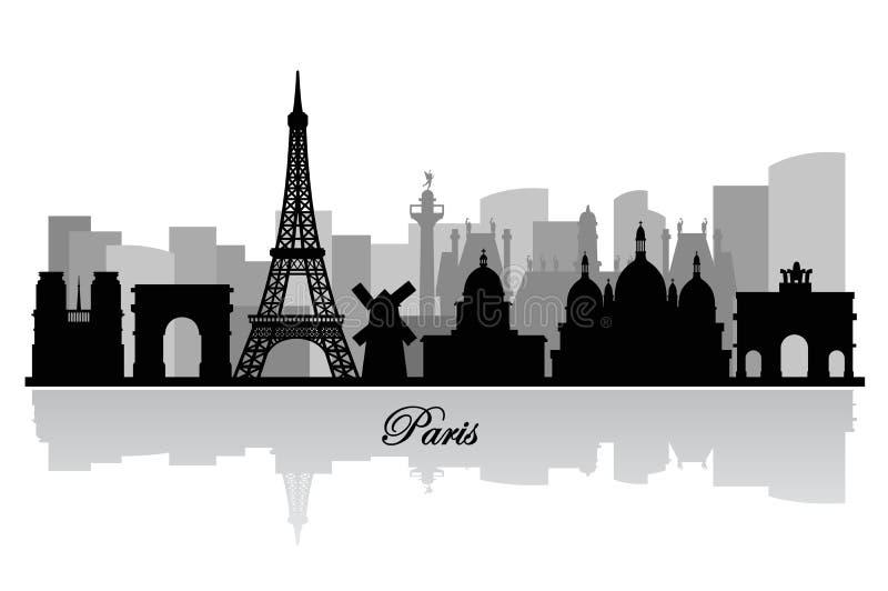 Διανυσματική σκιαγραφία οριζόντων του Παρισιού διανυσματική απεικόνιση
