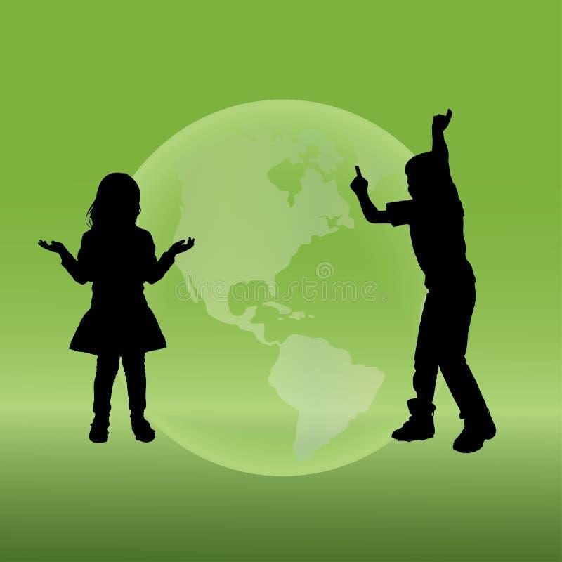Διανυσματική σκιαγραφία παιδιά ελεύθερη απεικόνιση δικαιώματος