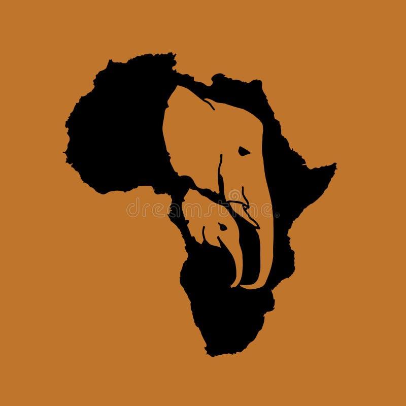 Διανυσματική σκιαγραφία της μαύρης Αφρικής με την καφετιά επικεφαλής σκιαγραφία ελεφάντων δύο μέσα στο καφετί υπόβαθρο Μητέρα και απεικόνιση αποθεμάτων
