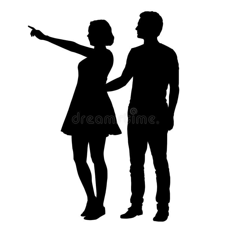 Διανυσματική σκιαγραφία του αγοριού και του κοριτσιού που στέκονται μαζί και που δείχνουν ελεύθερη απεικόνιση δικαιώματος