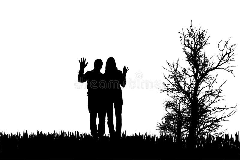 Διανυσματική σκιαγραφία του ζεύγους ελεύθερη απεικόνιση δικαιώματος